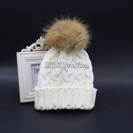 Wholesale 2015 New Fashion Soft Knit Caps Winter Warm Crochet Beanie Hat With Real Mink Fur Big Pompon Balls Colors