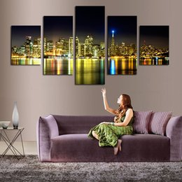 Home Decoration 5 Piece The City Night View Painting Modern Art Wall Decor Canvas Picture Art HD Print Painting (Unframed)