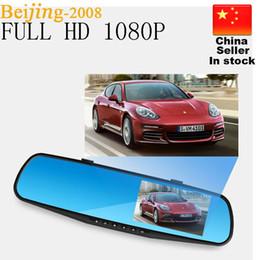 """Cámaras de lentes de porcelana en Línea-Vista HD caliente de 4.3 """"LCD doble objetivo de vídeo de la rociada de la cámara DVR registrador de la leva del coche 3 en 1 espejo retrovisor + frontal del coche DVR + cámara trasera 010229"""