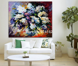 Lilac Flowers Rose Bouquet Modern Palette Knife Painting Wall Art Printed On Canvas Picture For Office Home Decor
