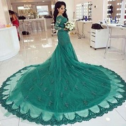 Luxury Cheap Green Prom Dresses Long Sleeves Off Shoulders Lace Applique Tulle Long Mermaid Evening Party Dress Cathedral Train