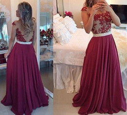 Burgundy Sheer Jewel Neck Vintage Lace Prom Dresses 2017 A Line Chiffon Illusion Back Long Formal Evening Gowns Custom with Pearls