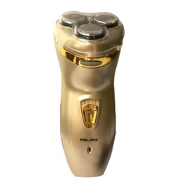Promotion rasoirs rechargeables imperméables pour les hommes Rechargeable Rotary de gros-Tyrant or trois rasoir tête 3D New Head Hommes Imperméable Lavable Rasoir électrique Razor