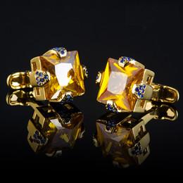 Compra On-line Camisas novas do partido-Novas próximos abotoaduras de cristal de luxo 18K para a camisa de jóias presente da festa de botões de punho do casamento dos homens para os amantes, frete grátis
