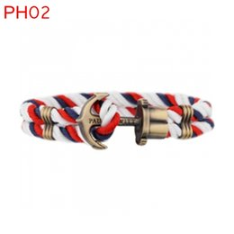 Wholesale PH weave rope personalized cotton rope vitage anchor rope men bracelet with bag