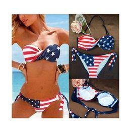 Details about New Women's Ladies'Sexy Padded American Flag Bikini Swimwear Beach Bathing Suit