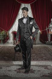 Wholesale 2016 Hot Sale Black Embroidery Groom Tuxedos Stand Collar Groomsmen Best Man Mens Weddings Prom Suits Jacket Pants Vest Tie NO