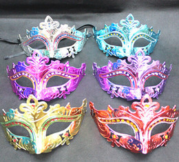 Mens Woman Mask Halloween Masquerade Masks Mardi Gras Venetian Dance Party Face gold shining plated Mask 6 colors