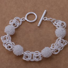(Jewelry Manufacturer)925 Sterling Silver Silver Bracelets fashion jewelry mesh ball toggle Bracelets silver jewelry factory price