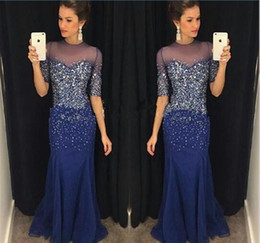 Royal Blue Prom Dresses Crystal Beading Formal Mermaid Half Long Sleeves Evening Gowns With Sheer Crew Neck Zip Back