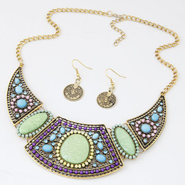 African Costume Jewelry Set For Women Ethnic Resin Vintage Beads Necklace Earrings Jewelry Sets High Quality Coins Earrings Set