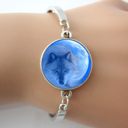 Wholesale Wolf With Moon In Back Ground Glass Tile Bracelet men Bangle Plated Antique Silver Round Charm Rhodium Plated Bangle New