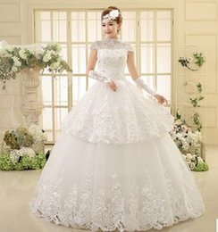 Wholesale The big code fat mM significantly thin gauze short sleeved Vintage collar new r fashion wedding bride