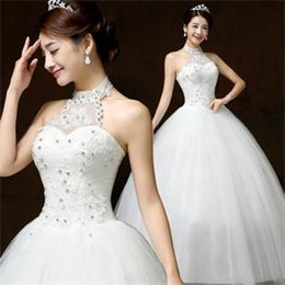 Wholesale 2016 Ball Gown Halter Lace up Floor length Sleeveless Sequins Crystal Decorate Lace Fabric Korean Style Wedding Dresses B
