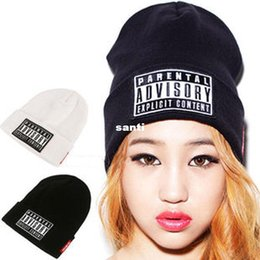 Wholesale PARENTAL ADVISORY EXPLICIT LYRICS HipHop Beanies and Skullies Cap Men Wool Turban Knitted Hats for Women Winter Hat