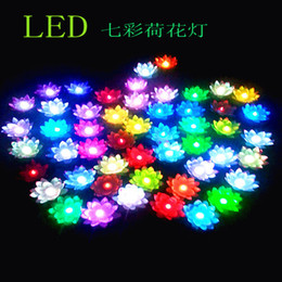 17CM Diameter Beautiful LED Artificial Lotus Flower 7 Colors Changing LED Lotus floating water flower home fish tank Decorations