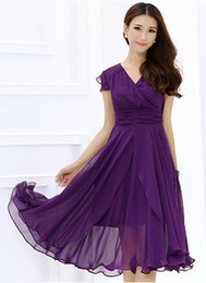 Women Summer dress Short sleeve Casual long Slim waisted Chiffon long dress Plus size OL dress