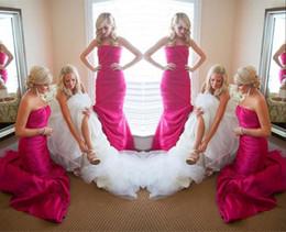 Fuchsia Strapless Long Bridesmaid Dresses For Wedding 2019 Taffeta Ruffles Sweep Train Bridesmaid Gowns Sexy Backless Bridal Formal Dresses