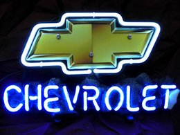 Wholesale car auto gm chevy budweiser real glsss tube neon sign display beer bar handicraft signs light CLUB store gameroom