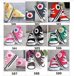 Wholesale Baby crochet sneakers first walk shoes infants toddlers kid sport babies handmade tennis booties cotton M custom