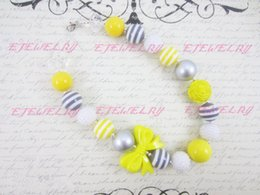 Gray and Yellow Children's, Chunky Necklace, Bow , Kids , Beaded Gumball , Child Girls Necklace CB168