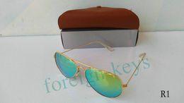 Wholesale Google selling Pilot style Women s Sunglass Classic style Men s Sunglasses Glass Lens mm Dichroic Lens With Brwon cases