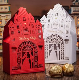 Wholesale Castle Candy - Castle White Wedding Candy Favor Sweet Box For Guest Spring Summer 2015 New Candy Favors Wedding Favors holders Rectangle Red
