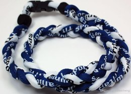 Wholesale 400PCS Lot Baseball Sports Titanium 3 Rope Braided White Dark Blue Sport Rope Necklace RT002