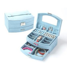 Wholesale European Style Flannelette Fan Cosmetic Box Double Lock Accessories Jewerly Organizer Box Specification cm