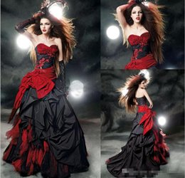 2017 Red and Black Gothic Wedding Dresses Taffeta Wedding Gown Beads Appliques Bow Sash Ruffles A line Wedding Dress