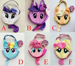 Wholesale Kids My Little Pony Plush Carrier Soft Hand Bags Designs Baby Colorful Cute Horse Bags Girls Shopping Bags Kids Cartoon Bags