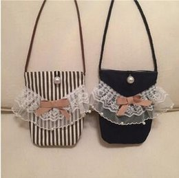 Sweet pearl cotton lace bow mobile phones package apple 6 children inclined shoulder bag snacks package
