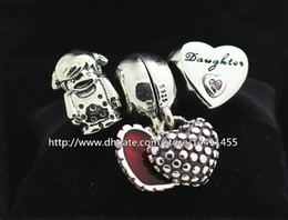 925 Sterling Silver Charms and Murano Glass Bead Set with Charm Box Fits European Pandora Jewelry Charm Bracelets -Daughter Sets