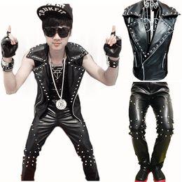 Wholesale CooL Men Gothique Punk Rock Leather Motorcycle Vest Sleeveless Rivet Jacket Coat and Pants Singer Dancer Performance Costumes