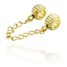 Retail Large Hole Metal Slide Bead Gold Color Plated European Pumpkin Safety Chain link Charm Spacer Fit Pandora Bracelet