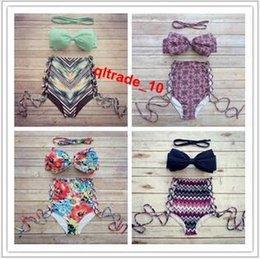 Wholesale 100 TOPB4780 color hot women high waist bikinis neoprene Triangle Push Up Bikini printed Bath Suit swimwear Bohemia swimsuits Bandage bras