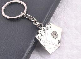 Wholesale NEW High Quality straight flush Playing CARDS Alloy key chain Keychain key chain key ring wedding favors key chain wedding gifts TN59