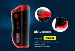 Wholesale 100 Original Mjtech Olax Hero W Box Mod fit Battery Reddish Black Ola X Hero Watt Digital Mod Thread DHL free