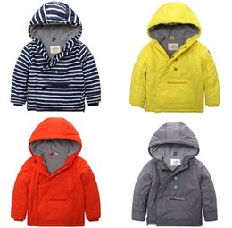 Wholesale Children Solid Hooded Outwear For Winter Thicked Kids Side Zipper Coat Boys Anchor Chain Velvet Clothing Fit Age SS710