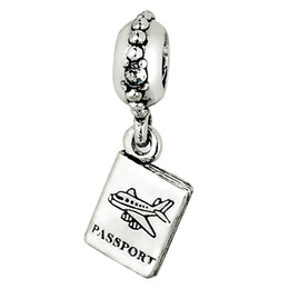 Wholesale Passport Pendant Charm Sterling Silver European Charms Bead Fit Pandora Snake Chain Bracelet Fashion DIY Jewelry