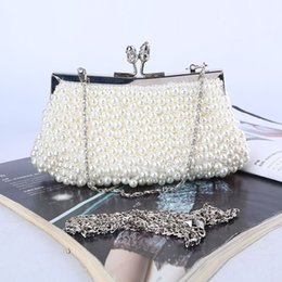 Wholesale Factory brand new handmade unique beaded evening bag clutch with satin for wedding banquet party porm