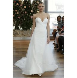 Wholesale Cheap Sweetheart White Wedding Dresses Simple Isabelle Armstrong Tulle Garden A Line Sweep Length Bridal Dress Ball Gowns Party Custom