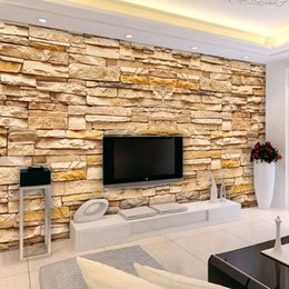 Wholesale Contemporary and contracted sitting room TV setting wall mural environmental non woven paper d imitation brick custom wallpaper paint the