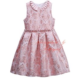 Wholesale Pettigirl Girls Pink Dress With Flowers Stylish Vintage Kids Princess Dress Decorated With Pearls Baby Wear GD81125 F