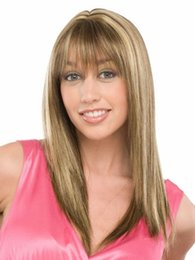 Lovely And Fresh Golden Medium Length Hair With Straight Bangs Free Shipping