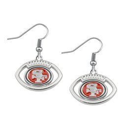 Wholesale New Fashion High Quality Alloy Metal Plated Oval Football San Francisco Team Logo Spirit Sport Earrings Wholesale10 Pair