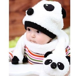 Wholesale-Reatil Baby children's winter hat black white panda cotton velvet pulled, baby hat +scarf 2 piece set