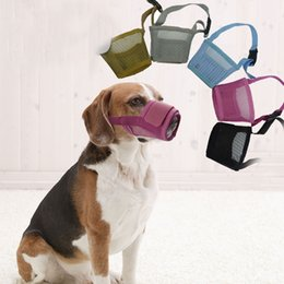 Wholesale Mesh Pet Dog Muzzle No Bite No Barking Puppy Dogs Mouch Cover Masks with adjustable Strap XXS XXL