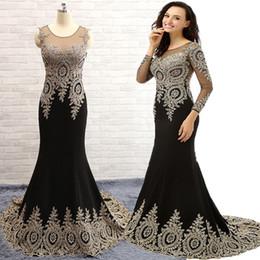 Wholesale Best Selling Chiffon Long Sleeves Appliques Beaded Scoop Neck Prom Dresses Elegant Mermaid Wedding Party Dresses See Through Top