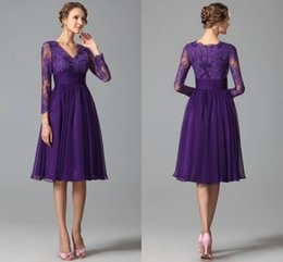 Wholesale New Purple Party Dresses For Women With Long Sleeve Prom A line Chiffon Cocktail Dress Homecoming Queen Dress Gowns